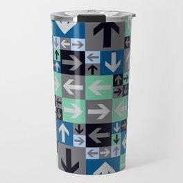 Arrow Pattern Blue Green Gray Travel Mug