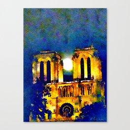 Notre Dame de Paris Full Moon Canvas Print