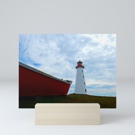 Boat and Lighthouse in Point Prim PEI Mini Art Print