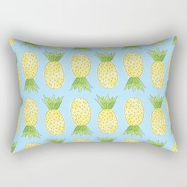 Pineapple Pattern Light Blue Rectangular Pillow