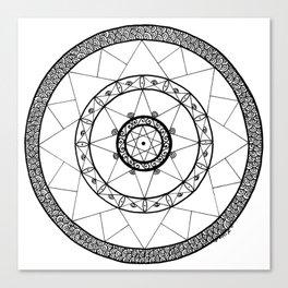 Zen Star Mandala - White Black - Square Canvas Print