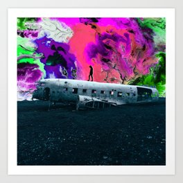 The Adventure Is Within You - Abandoned Airplane Collage Art Print