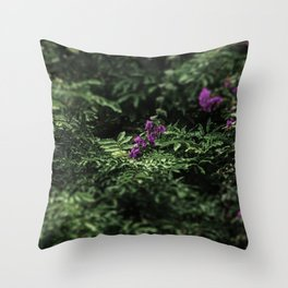 At the city garden, green, trees, purple flowers (2018-11SZH28) Throw Pillow
