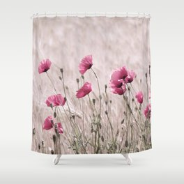 Poppy Pastell in Pink Beautiful nature Pattern from the world Shower Curtain