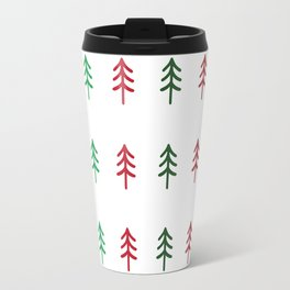 Hand drawn forest green and red trees for Christmas time Travel Mug