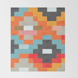 Colorful rectangles with dots Throw Blanket