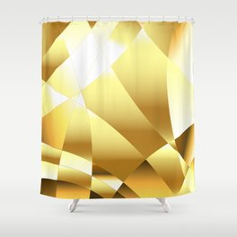 Golden Polygonal Background Shower Curtain