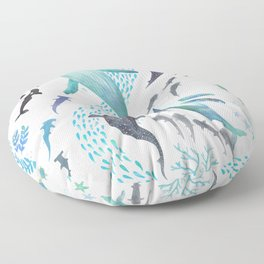 Sharks, Humpback Whales, Orcas & Turtles Ocean Play Print Floor Pillow