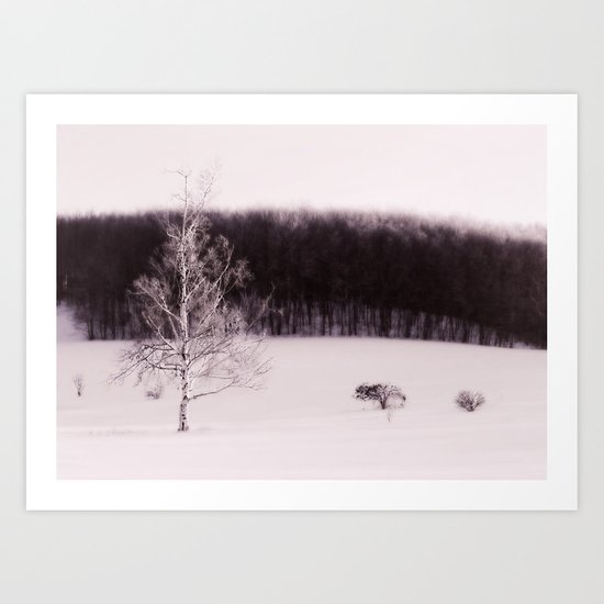 The forest behind the tree Art Print