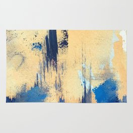 Lemon drop: a minimal, abstract mixed-media piece in yellow and blue Rug