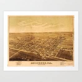 Aerial View of Abingdon, Illinois (1874) Art Print
