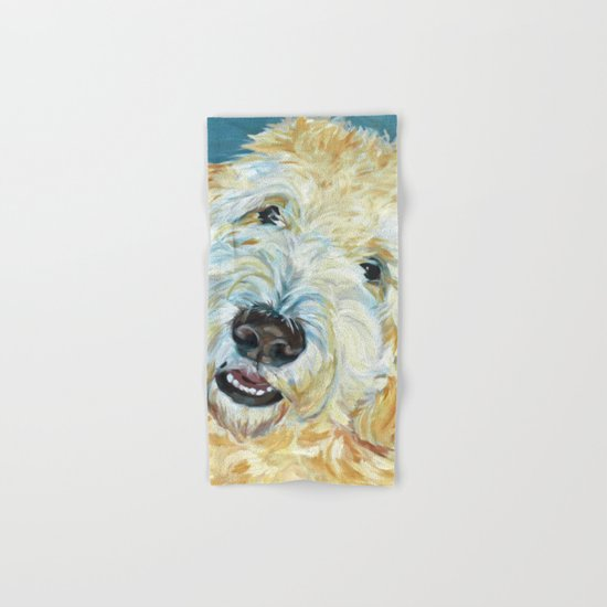 Stanley the Goldendoodle Dog Portrait by evelynmccorristinpeters