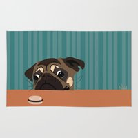 macaron Area & Throw Rugs featuring Le pug et le macaron by brocoli art print