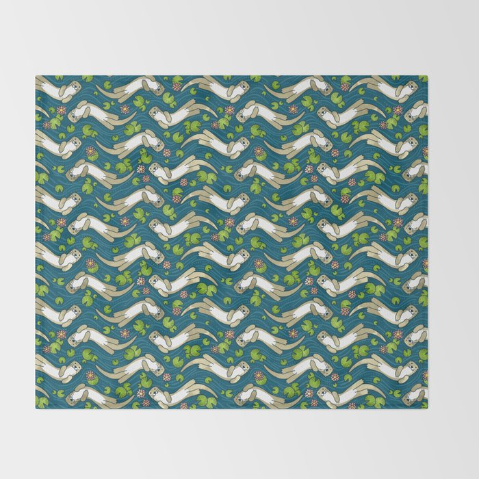 Otter and Water Lily Throw Blanket