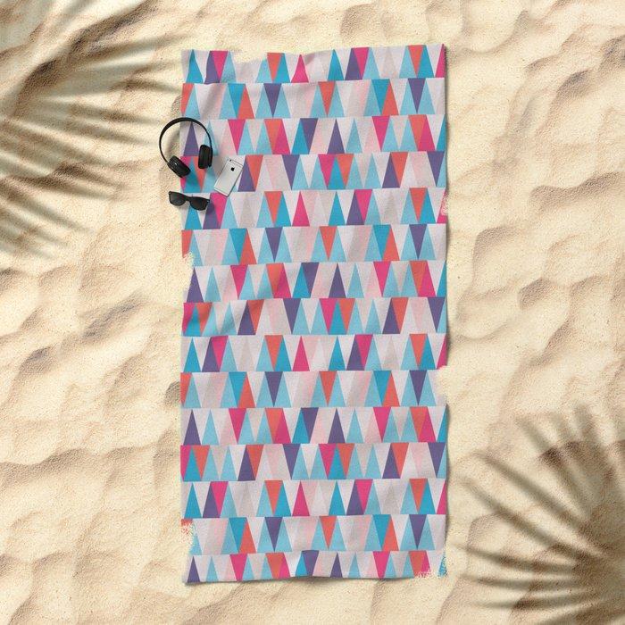 Blue & Pink Geometric Triangle Pattern Beach Towel