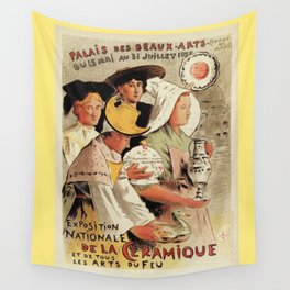 French belle epoque pottery expo advertising Wall Tapestry