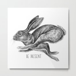 Animal Art | Hare and Quote by Magda Opoka | Animals | Black and White | black-and-white | bw Metal Print