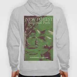 New Forest, Hampshire, England national park vintage poster Hoody