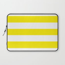 Canary yellow - solid color - white stripes pattern Laptop Sleeve