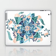 Modern coral blue watercolor floral illustration  Laptop & iPad Skin