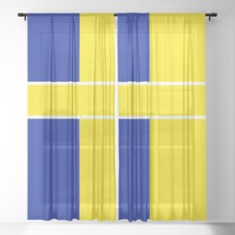 TEAM COLOR 6 ..yellow,blue Sheer Curtain