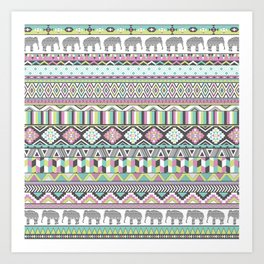 Tribal Geometric Elephant Pattern in pink, teal, and green Art Print