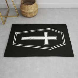 Classic Horror Distressed Gothic Coffin Rug
