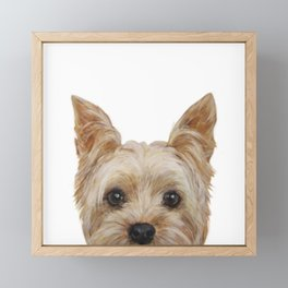 Yorkshire 2 Dog illustration original painting print Framed Mini Art Print