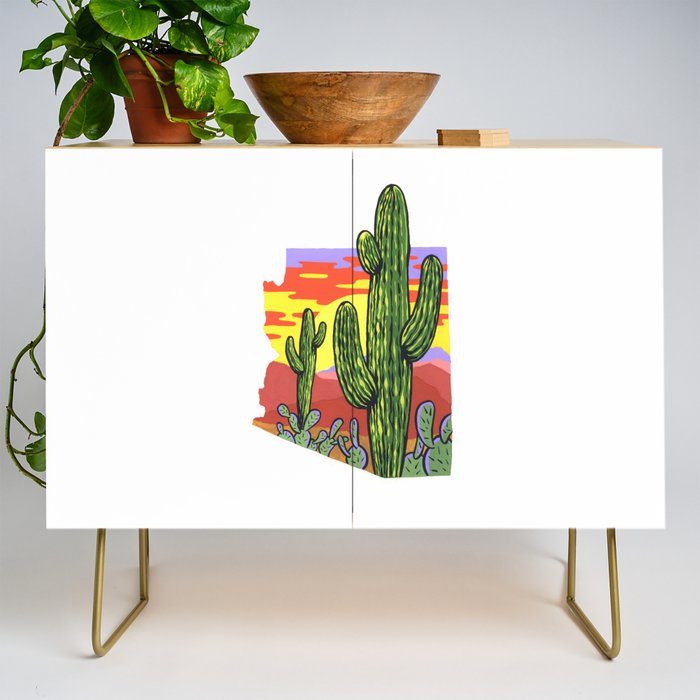 Arizona Saguaro Sunset Credenza