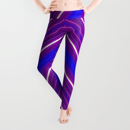 Modern Diagonal Chevron Stripes in Shades of Blue and Purple Leggings