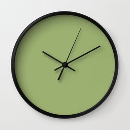 Solid Pale Iguana Green Color Wall Clock