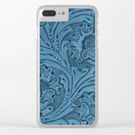 Cornflower Blue Tooled Leather Clear iPhone Case