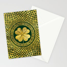 Irish Four-leaf clover with Celtic Knot Stationery Cards