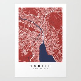 Zurich - Switzerland | Red & Blue Color Art Print