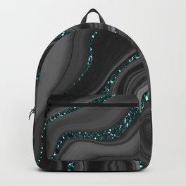 Liquid Black Gray White Agate Glitter Dream #3 #gem #decor #art #society6  Backpack
