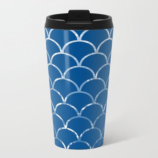Textured large scallop pattern in snorkel blue Metal Travel Mug