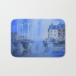 Quiet Harbour - boats safely moored Bath Mat