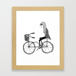 The girl who bikes with no hands Framed Art Print