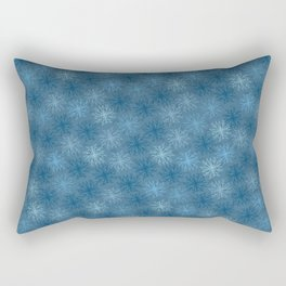 Blue Winter and Festive Christmas Star Snowflakes Rectangular Pillow