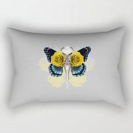 Bird skull and yellow roses Rectangular Pillow