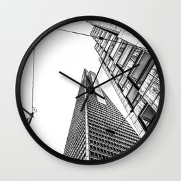 pyramid building and modern building in black and white at San Francisco, USA Wall Clock