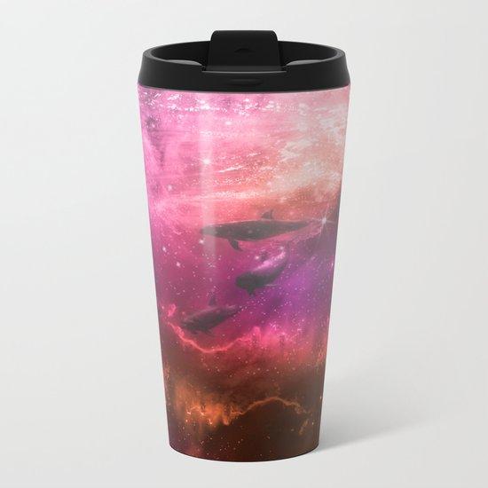 Floating Dolphins in mystic light Metal Travel Mug