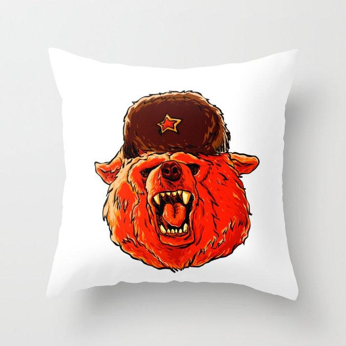Illustration Of A Soviet Bear Throw Pillow By Marios Society6