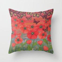 red sky, butterflies, poppies, & snails Throw Pillow
