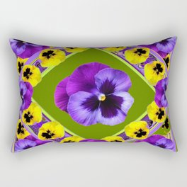 GREEN GEOMETRIC  PURPLE & YELLOW  PANS GARDEN ART Rectangular Pillow