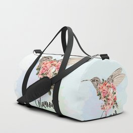 Hummingbird and roses. Romantic design Duffle Bag