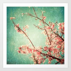 Pink Autumn Leafs on Blue Textured Sky (Vintage Nature Photography) Art Print