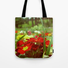 Red park flowers Tote Bag