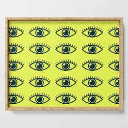 eye ball central yellow Serving Tray