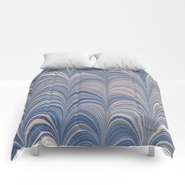 Marbled Blue and Gold Fountain Comforters